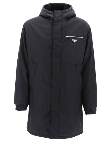 Prada Hooded Logo Patch Raincoat