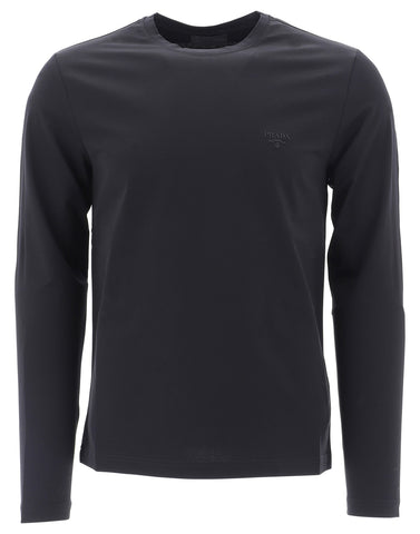 Prada Logo Embroidered Long Sleeved T-Shirt