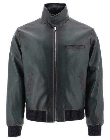 Prada Zipped Leather Bomber Jacket