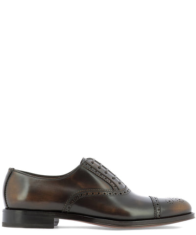 Salvatore Ferragamo Perforated Detail Lace-Up Shoes