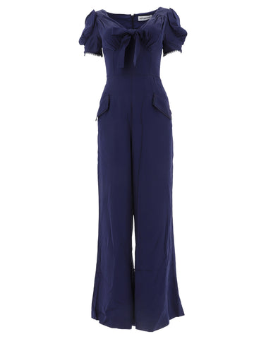 Self-Portrait Ruffle Sleeved Bow Detail Jumpsuit