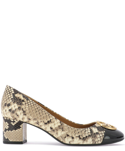 Tory Burch Python Print Leather Pumps