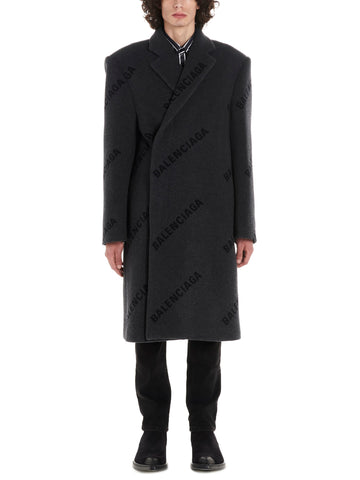 Balenciaga All Over Logo Coat