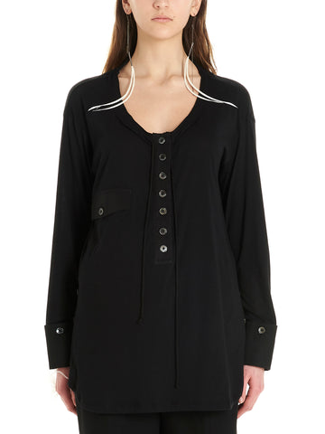 Ann Demeulemeester Scoop Neck Buttoned Top