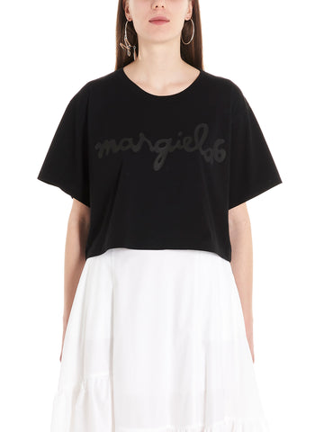 Mm6 Maison Margiela Logo Printed Cropped T-Shirt