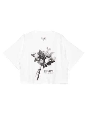Mm6 Maison Margiela Bouquet Print Cropped T-Shirt