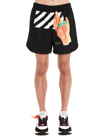 Off-White Hand Print Shorts