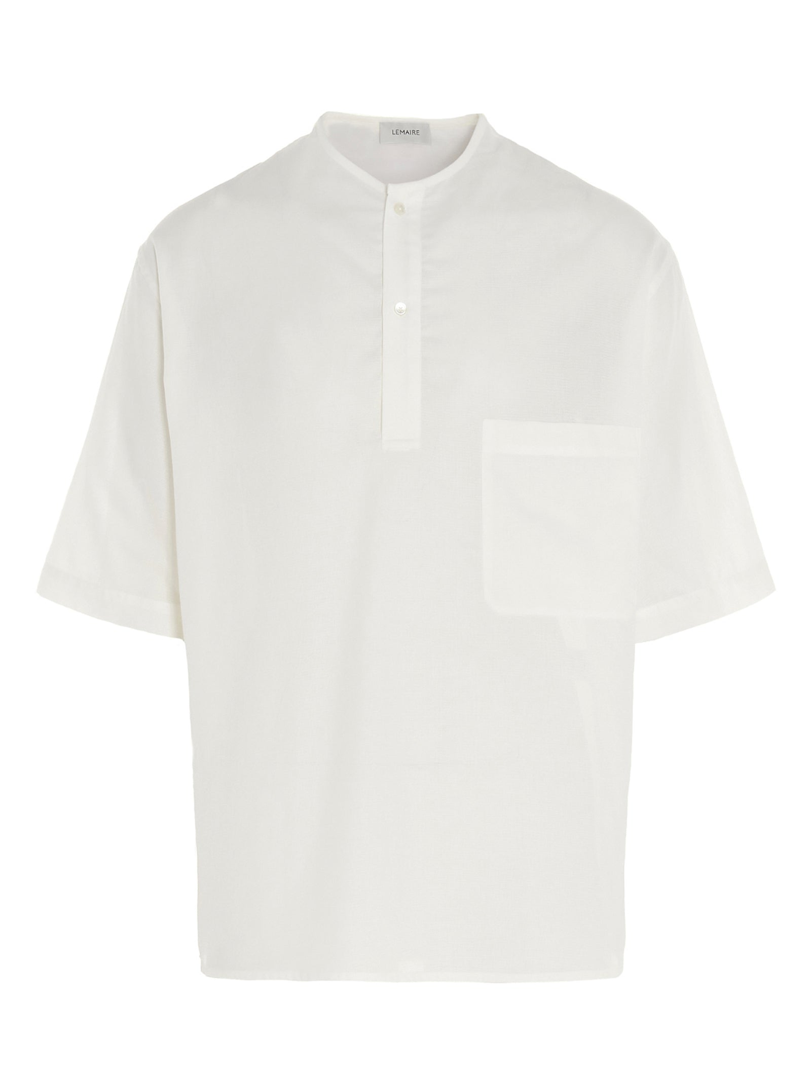 Lemaire Cottons LEMAIRE HALF BUTTONED COLLARLESS SHORT SLEEVE SHIRT