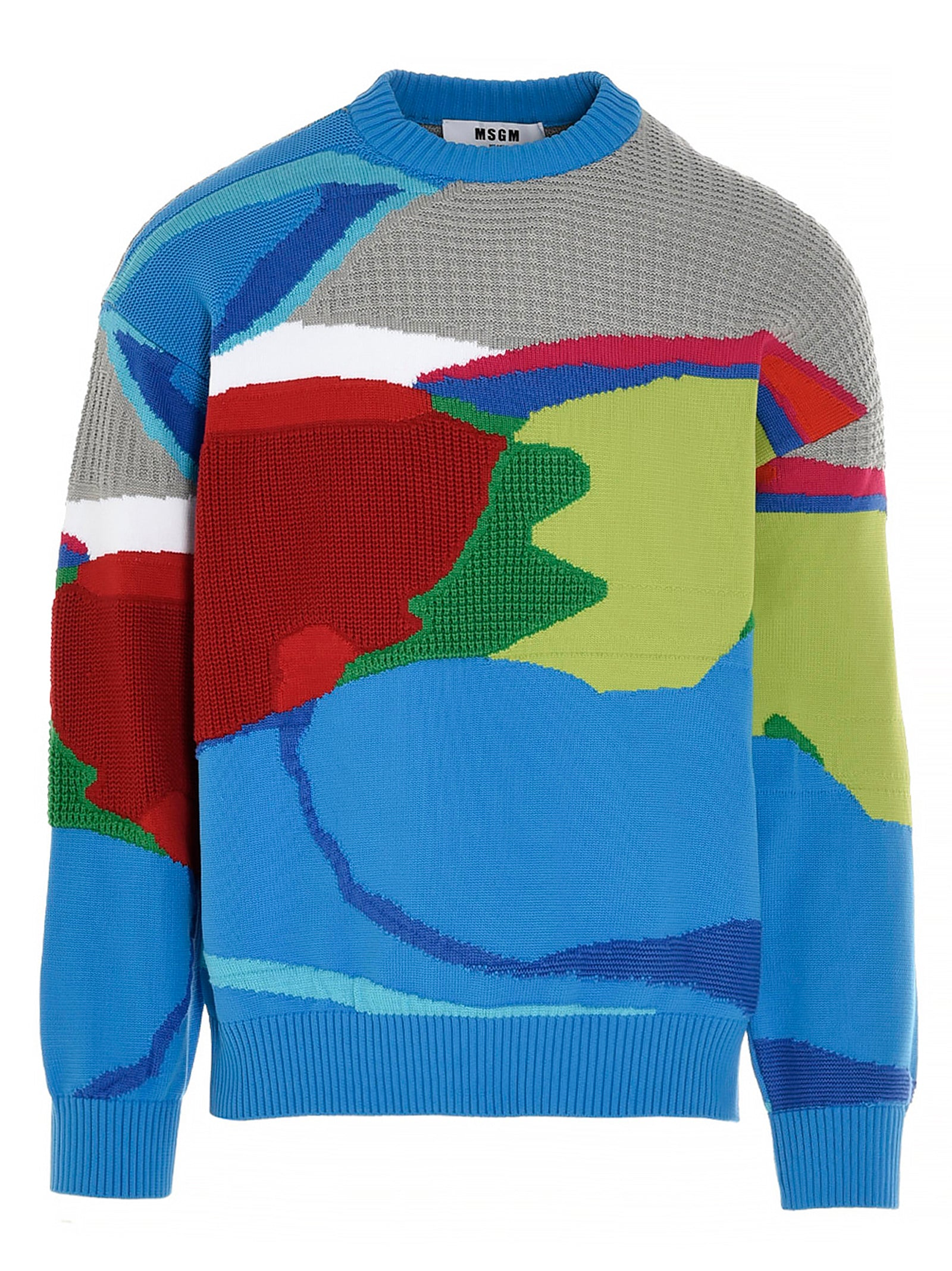 Msgm Cottons MSGM ABSTRACT PATTERNED KNIT JUMPER