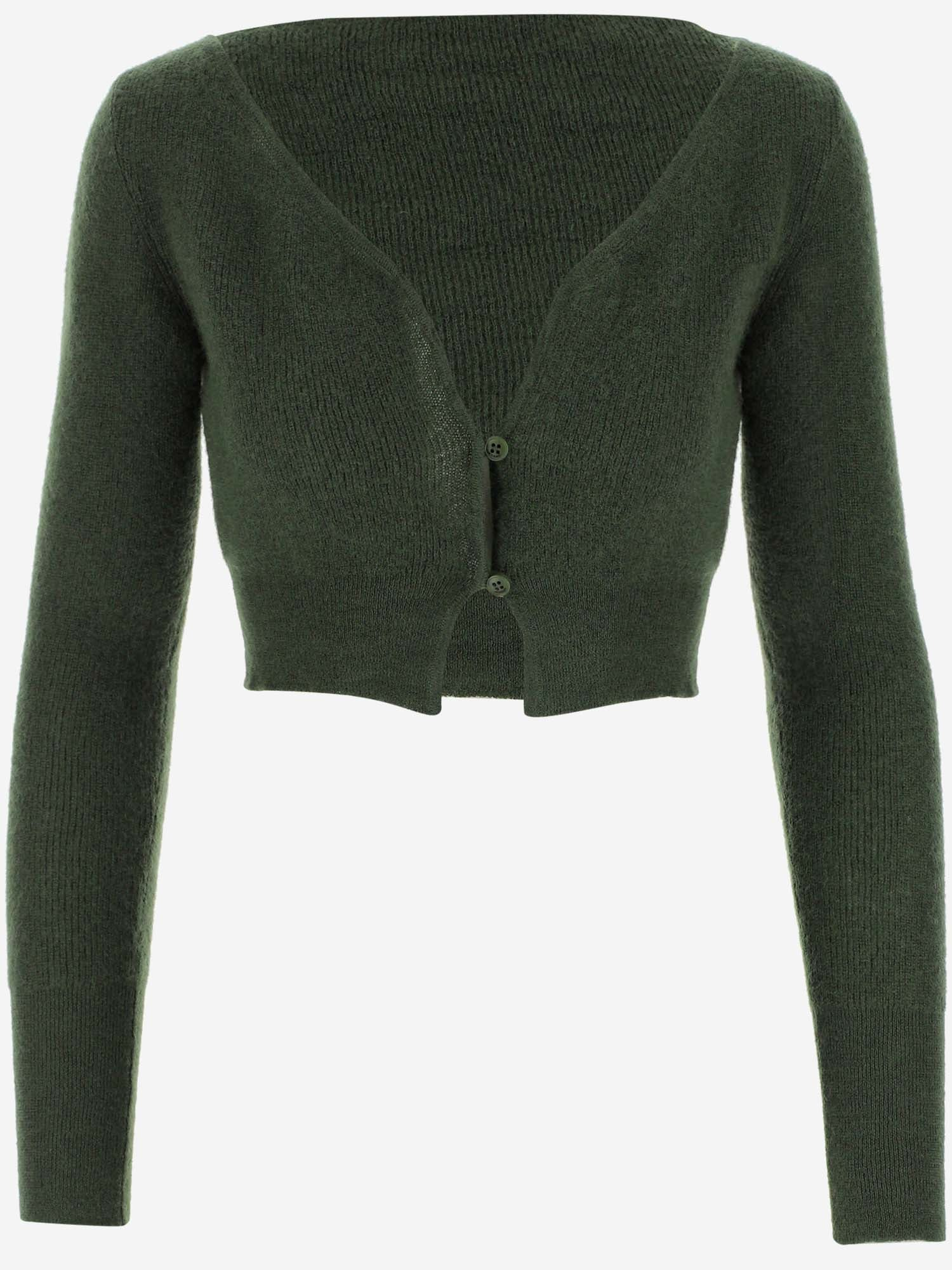 JACQUEMUS JACQUEMUS ALZOU CROPPED KNITTED CARDIGAN