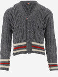 Thom Browne Striped Cable Knit Cardigan