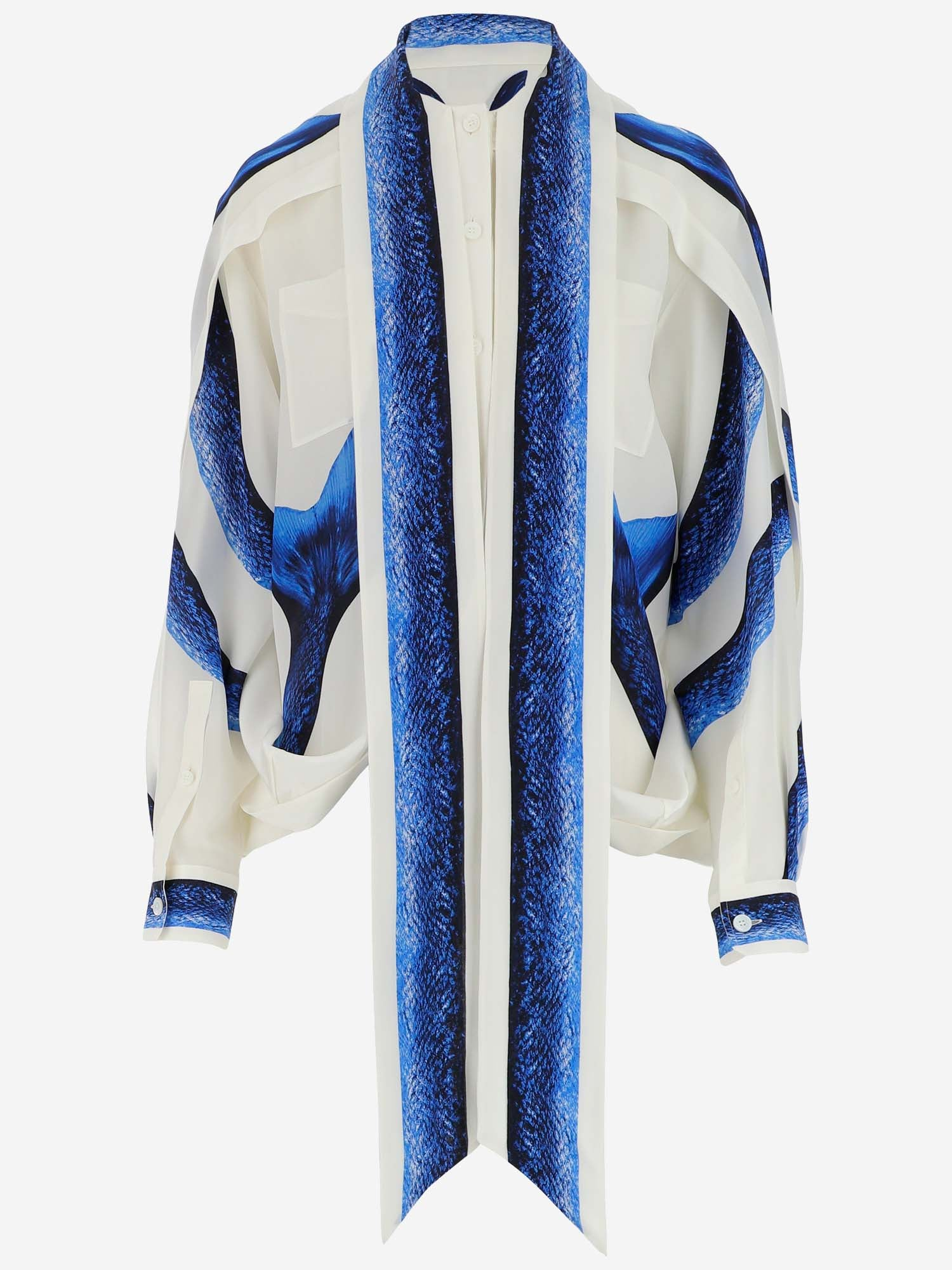 Burberry BURBERRY CAPE DETAIL MERMAID TAIL PRINT BLOUSE