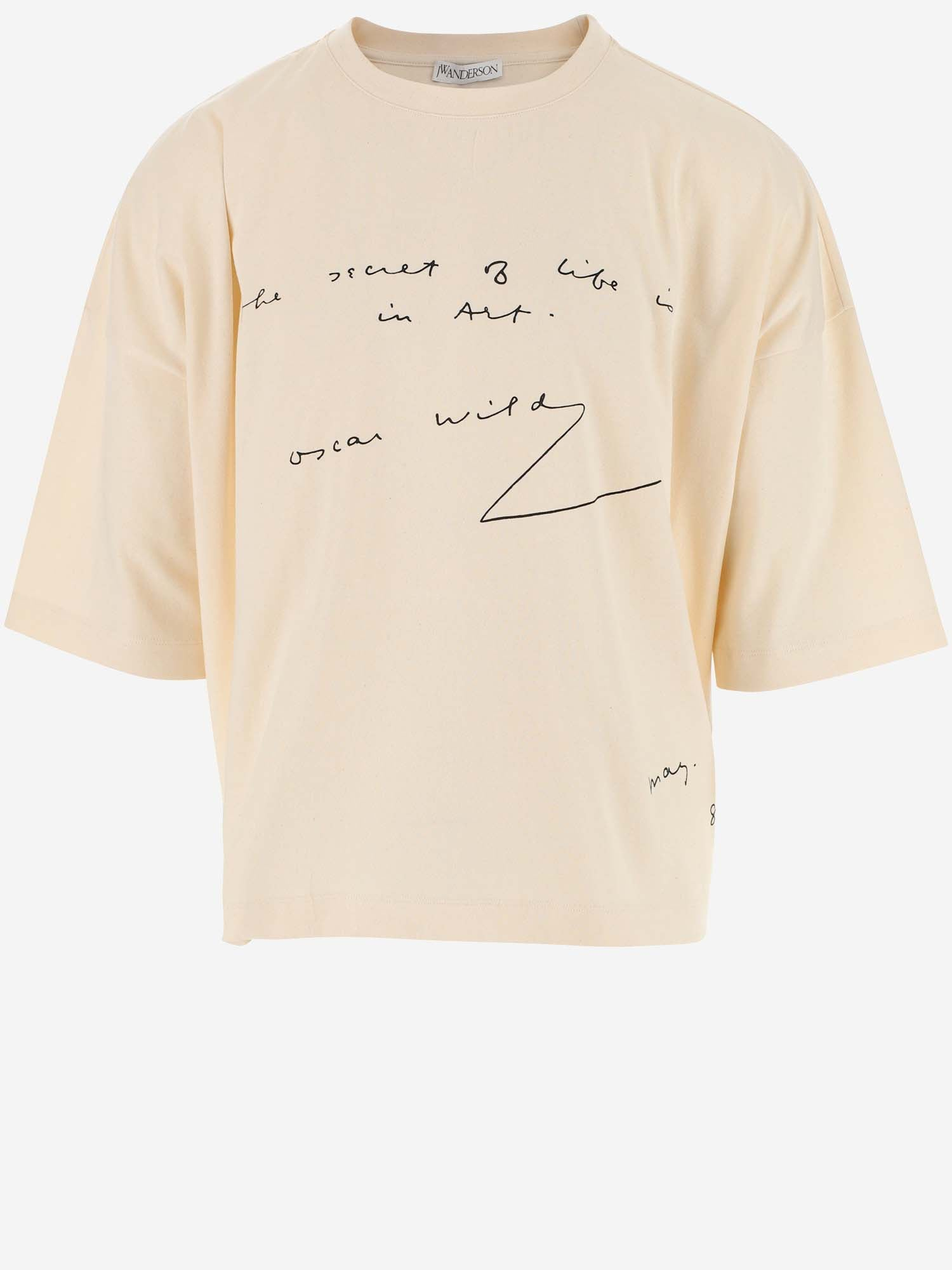 Jw Anderson Cottons JW ANDERSON OSCAR WILDE TEXT PRINT OVERSIZED T