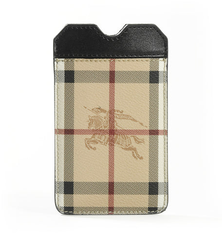 Burberry Leather Trim Haymarket Check Print iPhone 5 Holder