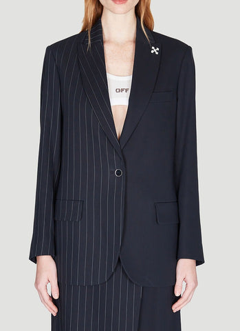 Off-White Asymmetric Pinstriped Blazer