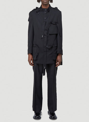 Yohji Yamamoto Single-Breasted Military Jacket