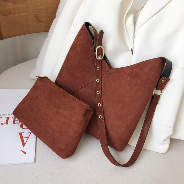 Elie Top-Handle Bags LEFTSIDE Official Store Chestnut Suede