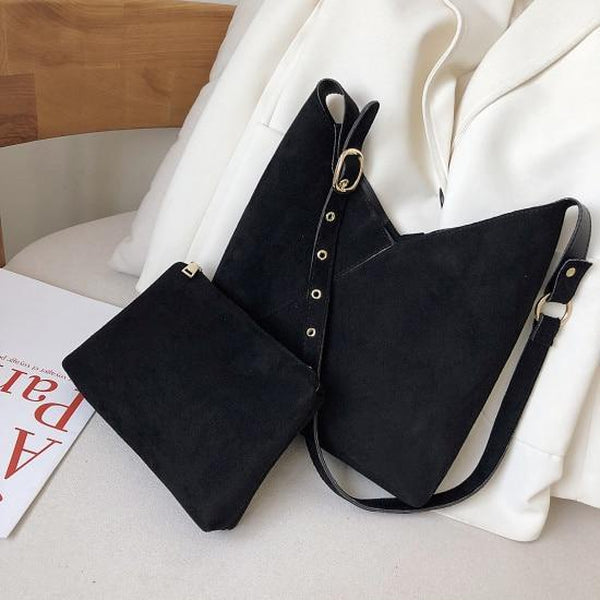 Elie Top-Handle Bags LEFTSIDE Official Store Noir Suede