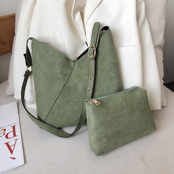 Elie Top-Handle Bags LEFTSIDE Official Store Olive Suede