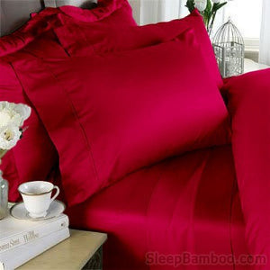 Red Bamboo Duvet Cover Set