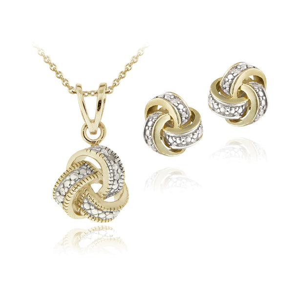 Diamond Accent Love Knot Necklace & Earrings Set