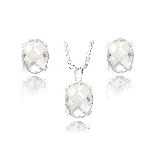 Sterling Silver  4.5ct White Topaz Oval Solitaire Necklace & Stud Earrings Set