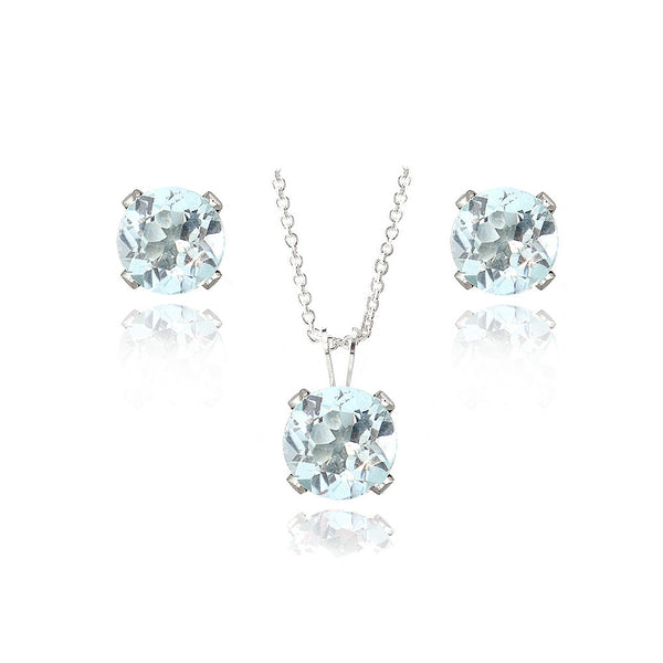 Sterling Silver 3ct Blue Topaz Solitaire Necklace & Earrings Set