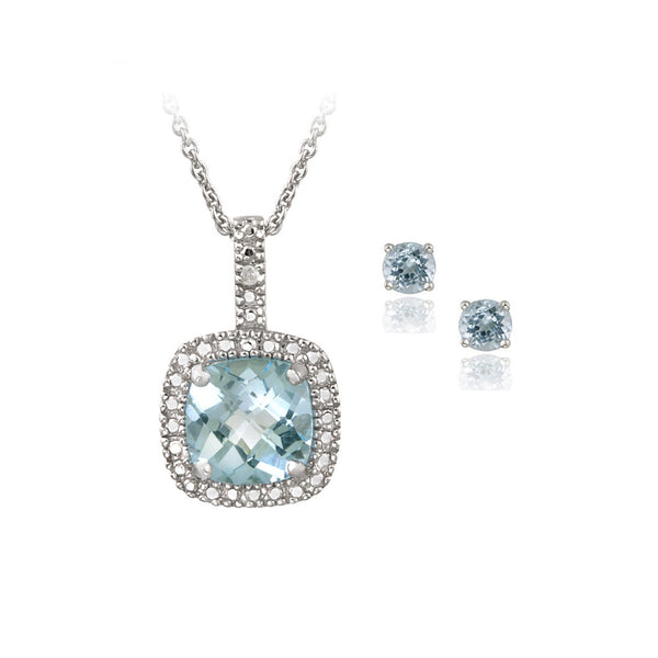Sterling Silver 4ct Blue Topaz & Diamond Accent Square Necklace & Earrings Set