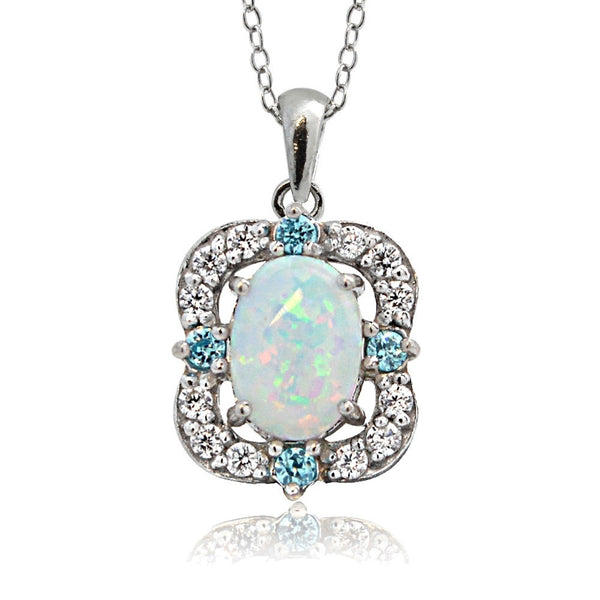 Sterling Silver Created Opal White Topaz & Aqua CZ Scallop Frame Oval Necklace