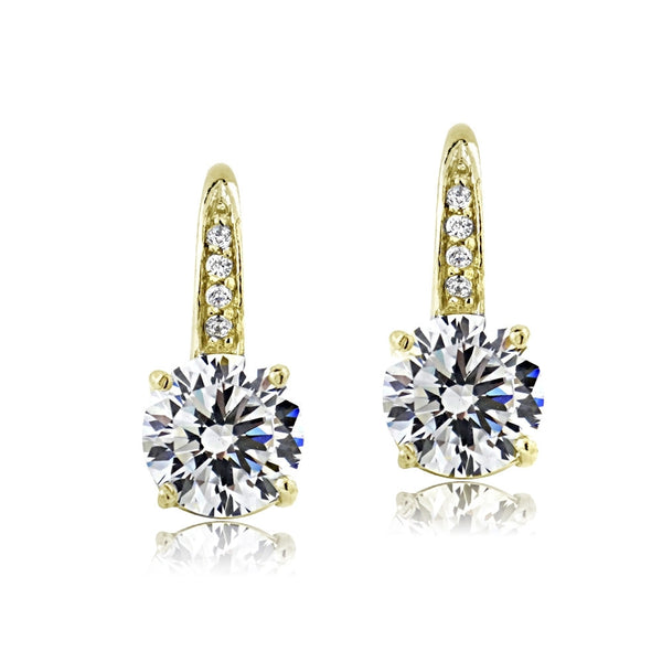 Gold Tone over Sterling Silver 100 Facets Cubic Zirconia Round Drop Leverback Earrings(4cttw)