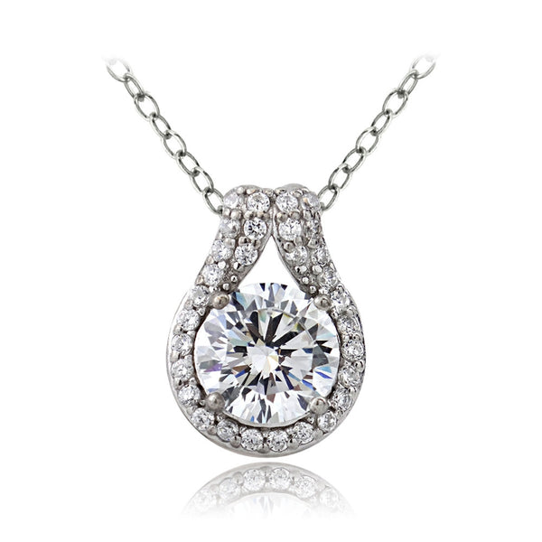 Platinum Plated Sterling Silver 100 Facets Cubic Zirconia Round Teardrop Necklace(2cttw)