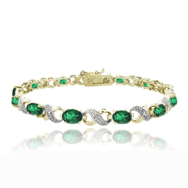 Emerald & Diamond Accent Infinity Bracelet