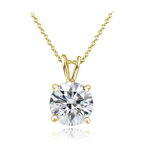 Gold Tone over Sterling Silver 100 Facets Cubic Zirconia Necklace (2cttw)