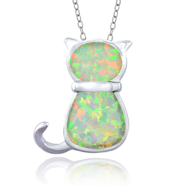 Sterling Silver Created White Opal Cat Necklace