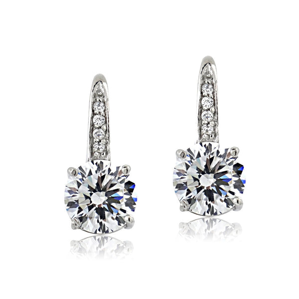Platinum Plated 100 Facets Cubic Zirconia Drop Earrings