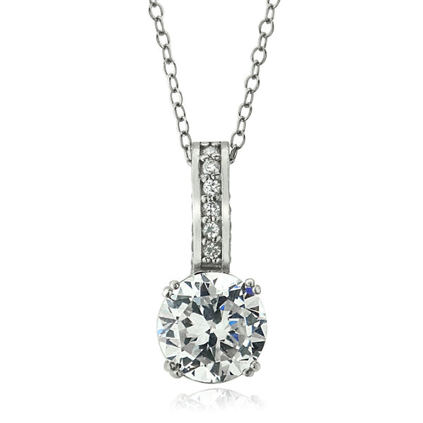 Platinum Plated Sterling Silver 100 Facets CZ Necklace