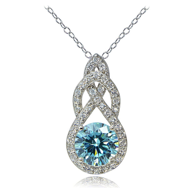 Platinum Plated Sterling Silver 100 Facets Light Blue Cubic Zirconia Infinity Drop Necklace
