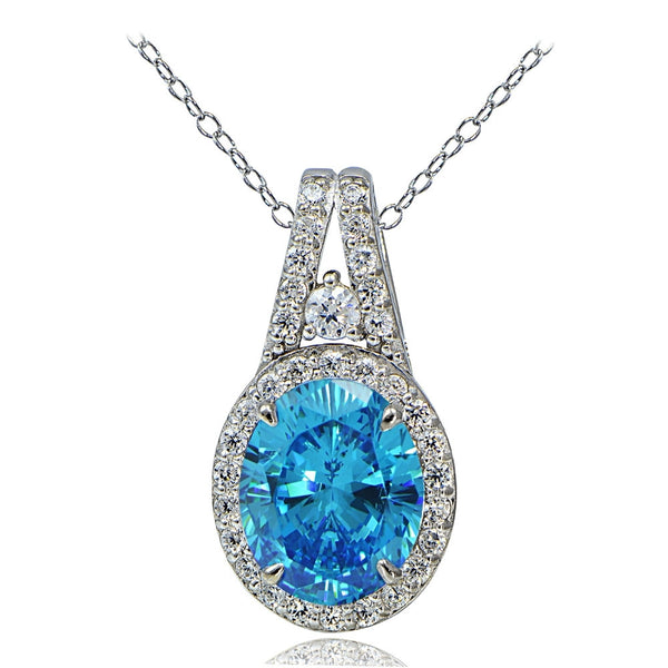 Platinum Plated Sterling Silver 100 Facets Light Blue Cubic Zirconia Oval Drop Necklace