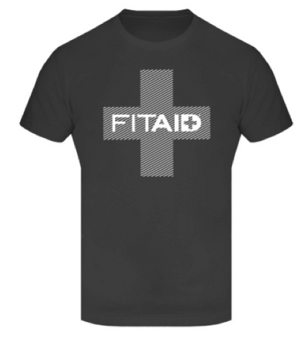 FITAID MEN SHIRT - BLACK WITH WHITE CROSS