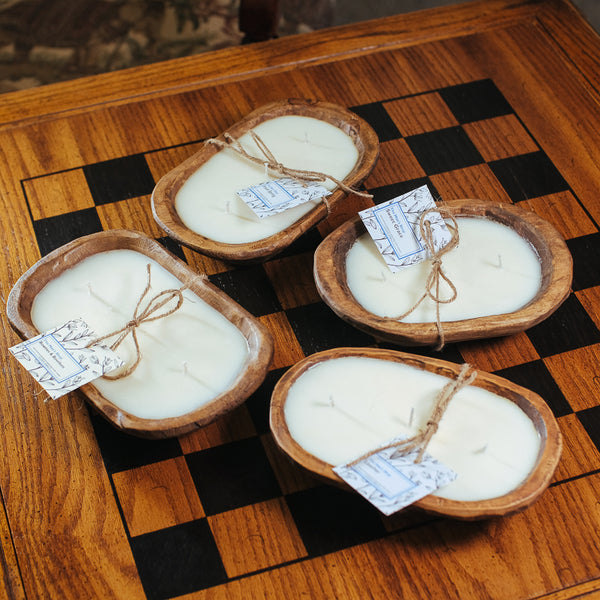 Wood Bowl Candles