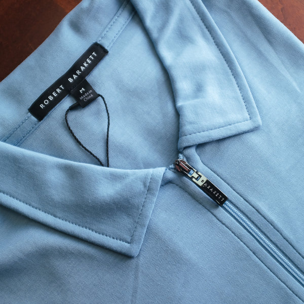 Faded Denim Zipper Polo