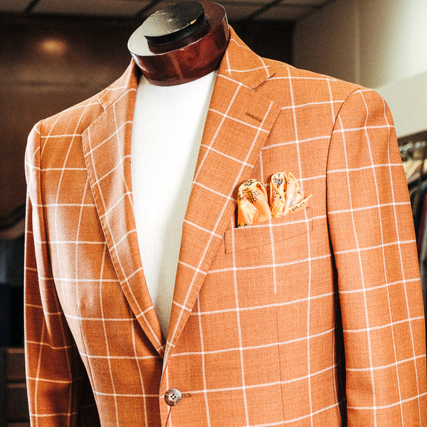 Burnt Orange Window Pane Sport Jacket