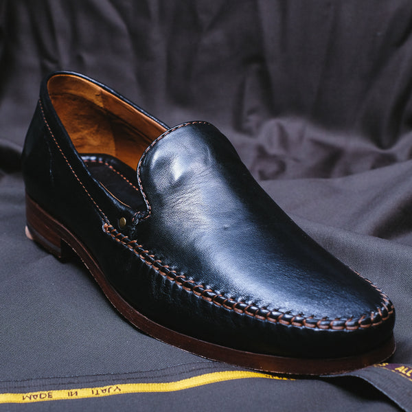 """Seth"" Black Leather Loafer"