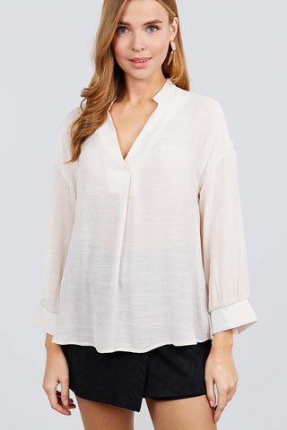 3/4 Cuff Sleeve V-neck W/collar Woven Top