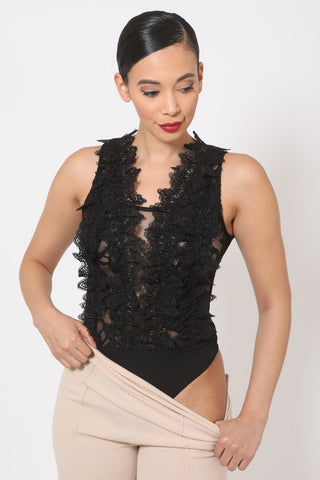 Crotchet Bodysuit W/front Ruffles And Small Mesh Details