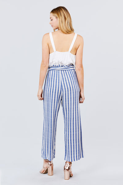 Straight Neck Waist Belted Stripe Long Jumpsuit