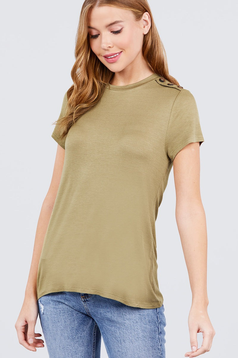 Short Sleeve Crew Neck W/shoulder Button Detail Rayon Spandex Top