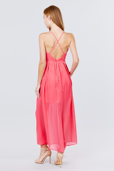 V-neck Cross Back Strap Detail Maxi Cami Dress