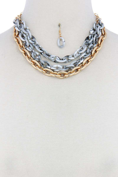 Triple Layer Multi Color Thick Chain Necklace And Earring Set
