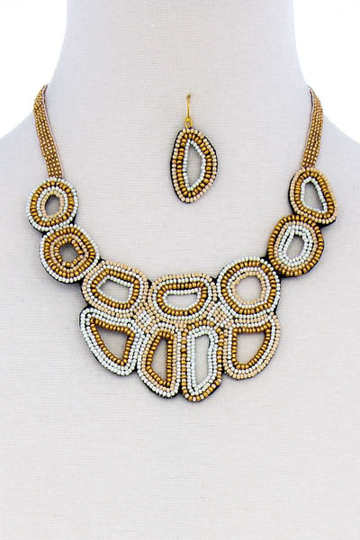Multi Beaded Fashion Chunky Necklace And Earring Set